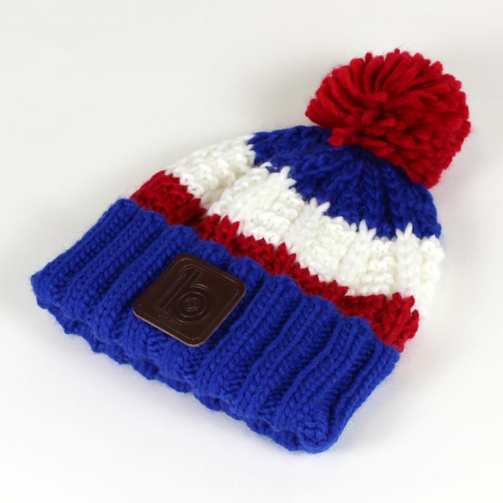 6bd0f458 Blue / Red / White Bobble Hat | ob1